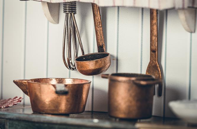 Utensili da cucina in rame