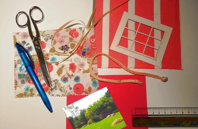 Material necesario para hacer la cortina baño. Tijeras, cinta de raso, cordón, regla, telas y boligrafo.