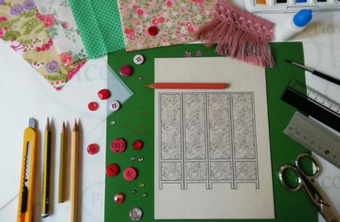 Material para hacer un biombo: plantilla de un biombo de cartulina recia, retales, reglas, cola blanca, lápices de colores, tijeras, abalorios,..