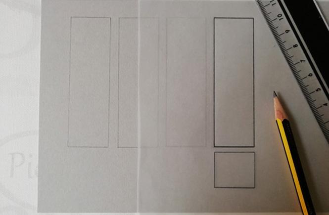 Una de las partes rectangulares del biombo calcada y trasladada a una cartulina.